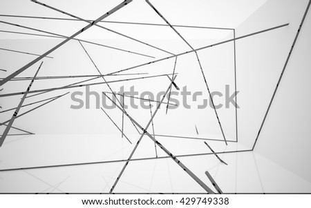 Abstract white interior with black glossy lines. 3D illustration. 3D rendering