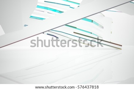 Abstract white interior with colored glossy lines. 3D illustration and rendering