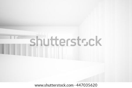 Abstract white interior with future columns and decor in the form of stars. Architectural background. 3D illustration. 3D rendering