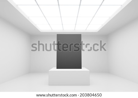 abstract white interior with stand and black paper - stock photo