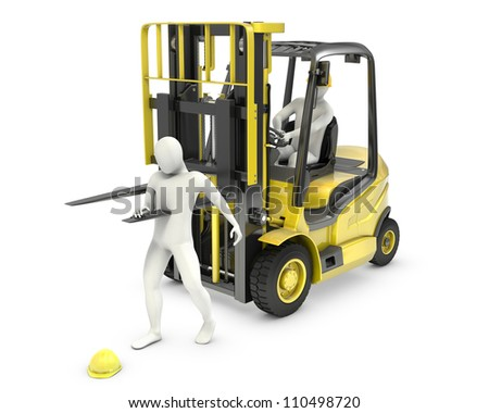 Abstract white man was injured by lift truck fork, due to safety violation, isolated on white background - stock photo