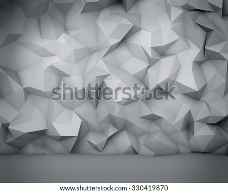 Abstract white polygon wall background. - stock photo