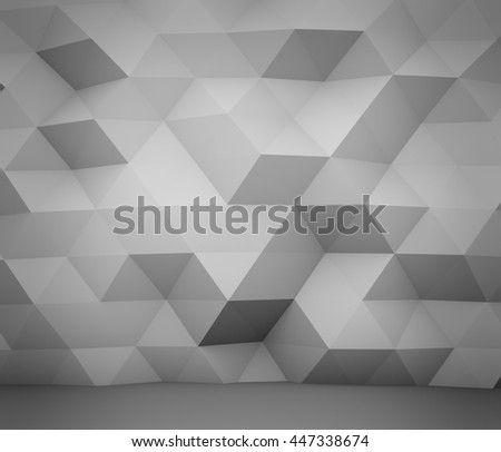 Abstract white polygon wall 3D rendering background. - stock photo