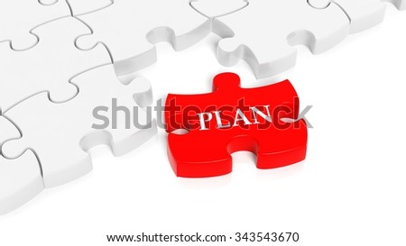 Abstract white puzzle pieces background  with one red with Plan text. - stock photo