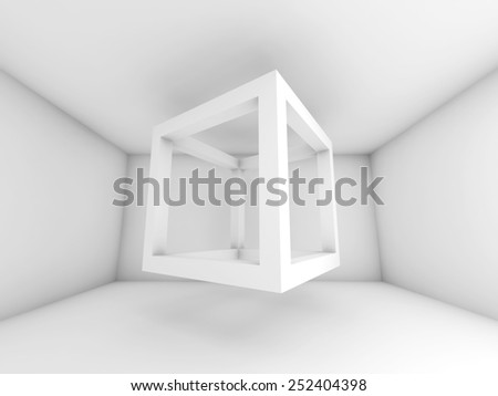 Abstract white room interior. 3d background illustration with flying empty beam cube - stock photo