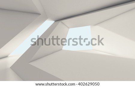 Abstract white room interior with window and futuristic geometric structures. Empty architecture background, 3d render illustration - stock photo