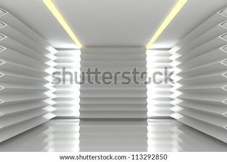 Abstract white serrated wall with empty room - stock photo