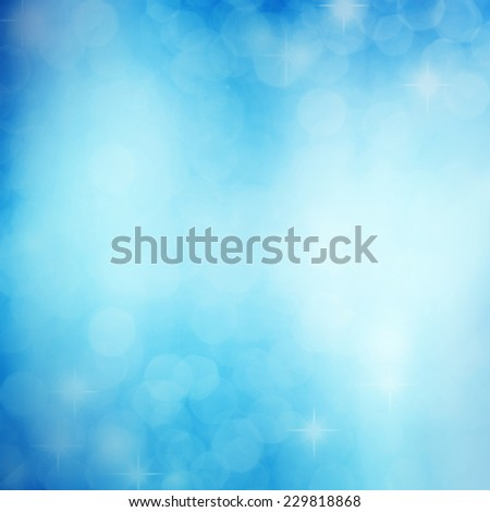 Abstract white shiny lights, blue background - stock photo