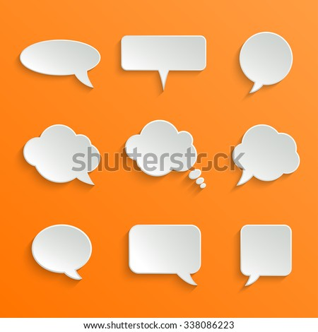 Abstract White Speech Bubbles Set on Orange Background
