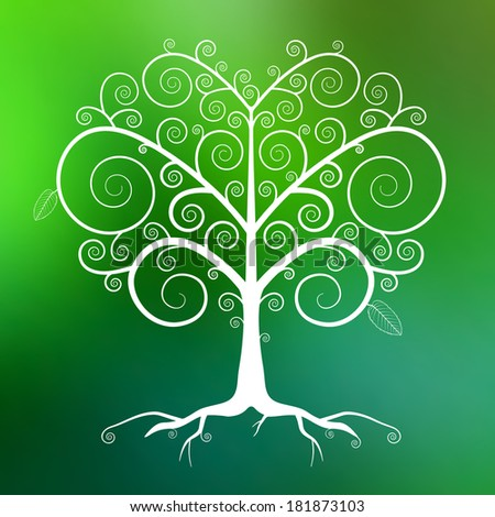 Abstract White Tree Illustration on Green Blurred Background