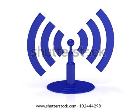 Abstract Wi-fi on white background, 3D render image