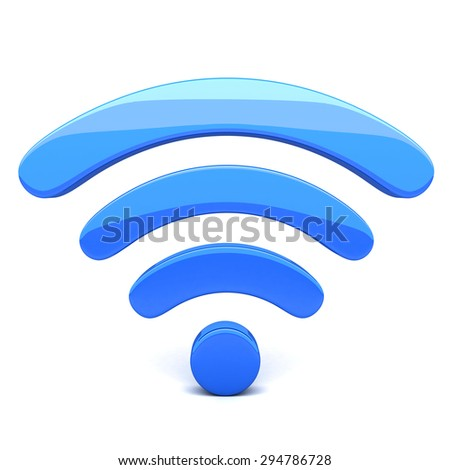 Abstract Wi-fi on white background (done in 3d) - stock photo