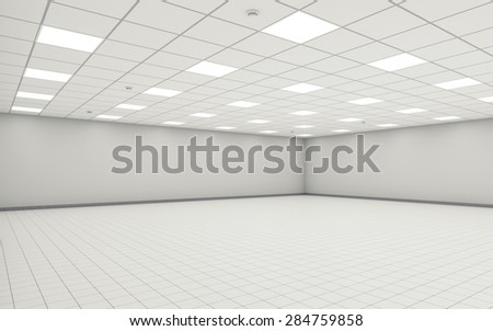 Abstract wide empty office room interior with white walls, ceiling illumination and floor tiling. 3d illustration - stock photo