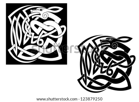 Abstract wild animal with ornamental elements in celtic style, such a  template. Vector version also available in gallery - stock photo