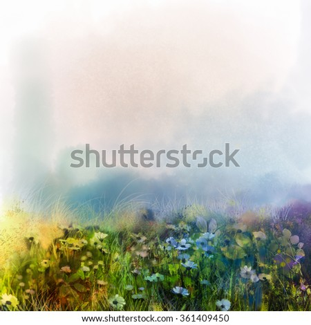Abstract wildflowers, watercolor painting flower in meadows. Hand paint White and soft green blue daisy, gerbera flowers on light blue color texture background. Spring flower nature background  - stock photo