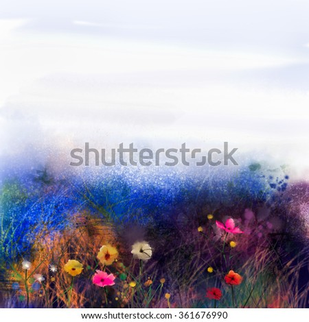 Abstract wildflowers, watercolor painting flower in meadows. Hand paint White, Yellow, Pink, Red, daisy gerbera flowers on purple blue grunge color texture background.Spring flower nature background  - stock photo