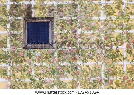 Abstract window as flower painting background - stock photo