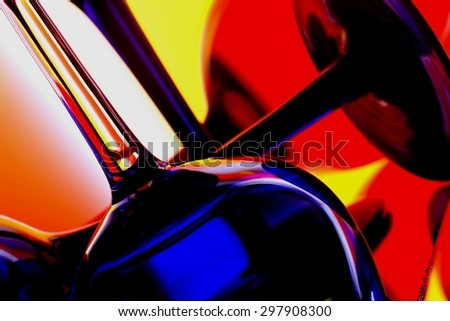 Abstract wine glassware background design . - stock photo