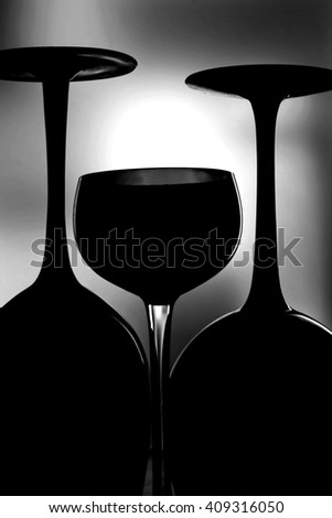 Abstract Wine Glassware Background Design - stock photo
