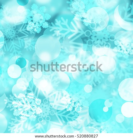 Abstract Winter background abstract bokeh. Snow, blurred lights with snowflakes. Christmas background