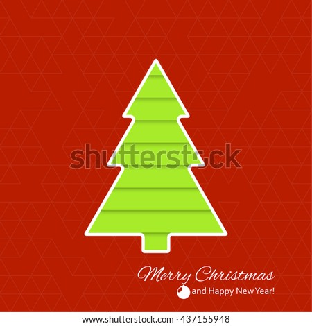 Abstract Winter Background. Christmas tree applique. Happy New Year and Merry Christmas text. green, red