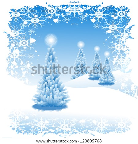 Abstract winter  background scene with  snowy christmas trees