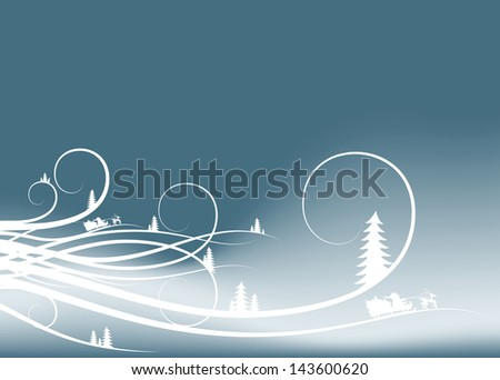 abstract winter background with firtree silhouettes and Santa Claus