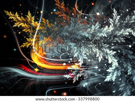 Abstract winter background with snow and stars. Frosty color pattern for creative design. Festive Christmas template with blurred effect. Fractal art - stock photo