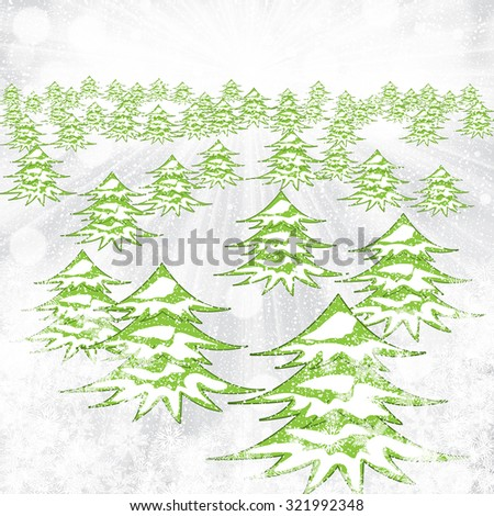 Abstract winter background with trees and snowflakes - stock photo