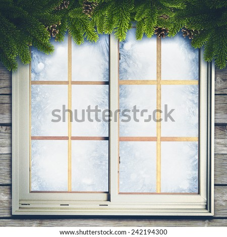 Abstract winter backgrounds with xmas decorations