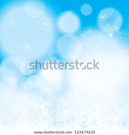 Abstract winter blue snowflakes background