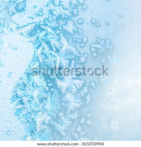 abstract winter ice texture on window, festive background, close up - stock photo