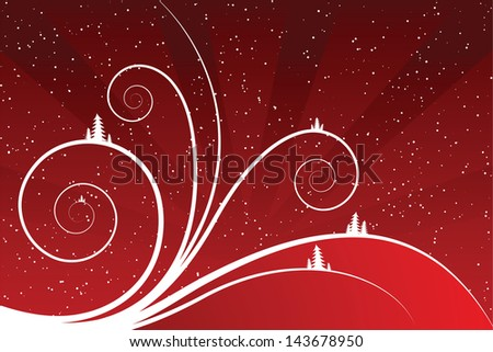 Abstract winter scrolls with snowflake and firtree - stock photo
