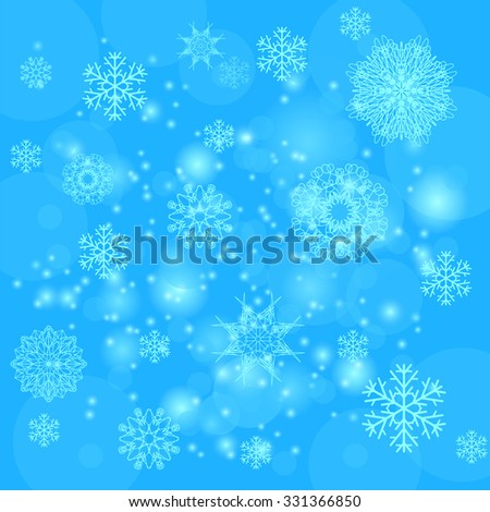 Abstract Winter Snow Background. Abstract Winter Pattern. Snowflakes Background - stock photo