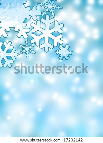 Abstract winter snowflakes background - stock photo
