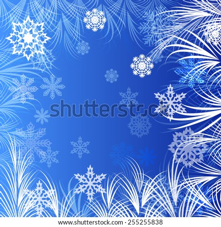 Abstract winter window ornaments background. - stock photo