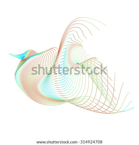 Abstract wire frame bird.