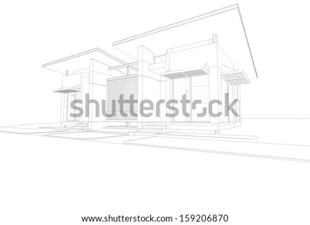 Abstract wireframe blueprint of 3D building - stock photo