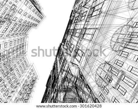 Abstract wireframe of  3D  architecture.