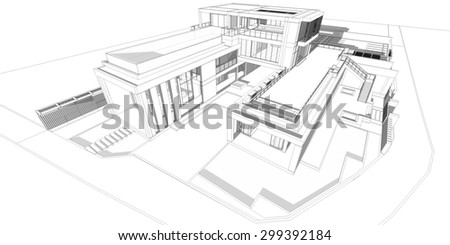 Abstract wireframe perspective of 3D building with shade and shadow. 3D rendering of house.