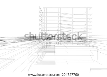 Abstract wireframe structure of 3D building - stock photo