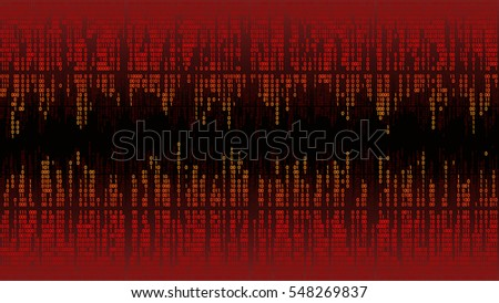 Abstract with red digital lines, binary code, matrix background with digits, frame