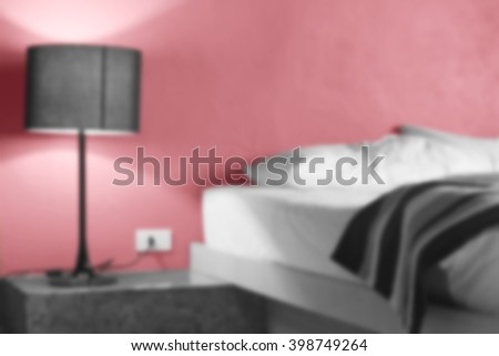 abstract woke up in the morning and unmade bed. blurred picture. - stock photo
