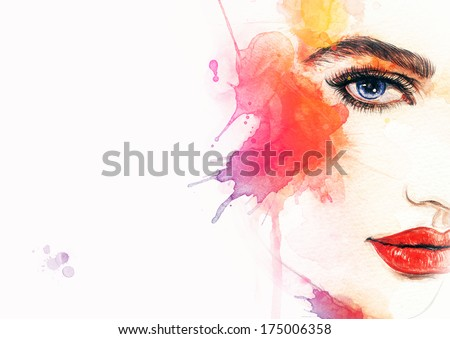 abstract  woman face - stock photo