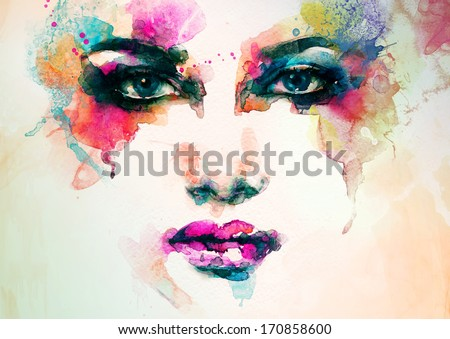 abstract woman face. watercolor illustration  - stock photo