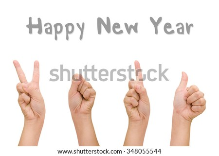 Abstract woman hands with hand symbol 2016 signs, Happy new year.