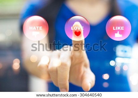 Abstract woman pressing modern colorful emotion buttons, love concept and soft focus - stock photo