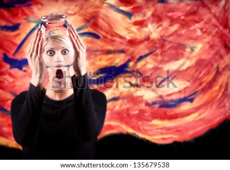 Abstract woman screaming with distorted face and abstract painted background - stock photo