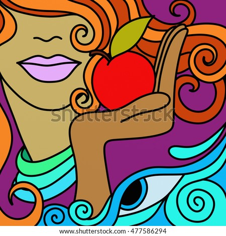 Abstract woman with red apple and face
