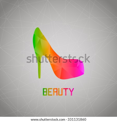 Abstract women's shoes of colored triangles - stock photo